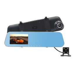 Camara de Coche con Camara Trasera Antigolpe / 1080P / LCD 4.3 / 140° ANGULO DE VISTA / MAX 32GB SD / 5V1A / -30~70℃