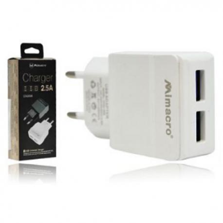 Adaptador De Pared Con Dos Puertos USB 2.5A / CDQ 058 MIMACRO