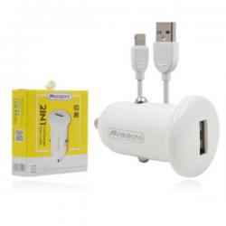 Cargador / Adaptador 2.5A Para Coche Con Cable Lightning / iOS / CC057 SJX136 MIMACRO