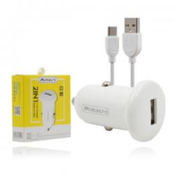 Cargador / Adaptador 2.5A Para Coche Con Cable Micro Tipo-C / CC057 SJX137 MIMACRO