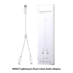 Adaptador Para IPhone Cable Lightning A Dos Salidas Jack Audio / Modelo MH027