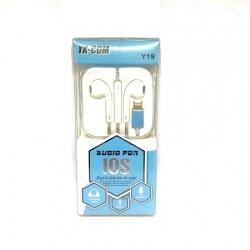 Cascos / Auriculares Conector Lightning Para iPhone iOS Blanco / YK-COM / Y19