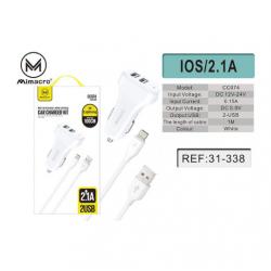 Cargador / Adaptador 2.1A Para Coche Con Cable Lightning / IOS / CC074 SJX169 MIMACRO