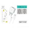Cable De Datos Con Adaptador De Pared 3.1A Tipo C / 2USB / CDQ-080 SJX-174 MIMACRO