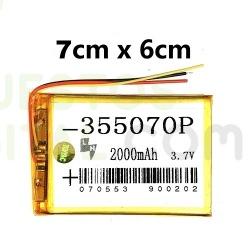 NUM3 Bateria 355070P Generica Para Tablet De 2000mAh-3.7V / 7cm X 6cm