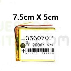 NUM6 Bateria 356070P Generica Para Tablet De 2000mAh-3.7V / 7.5cm X 5cm