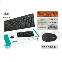 Teclado y Raton inalambrico para ordenador / incluye pilas / WJP001 / WM005 / MIMACRO