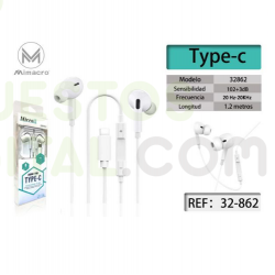 Casco / Auricular Tipo IPhone Conector Tipo C / MIMACRO