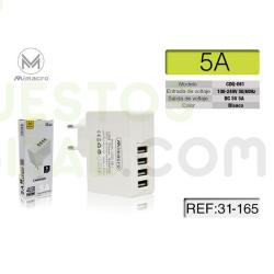 Cargador / Adaptador De Pared 4 Puertos USB 5A / CDQ061 MIMACRO